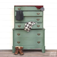 Real Milk Paint's Blue Spruce color of the month dresser